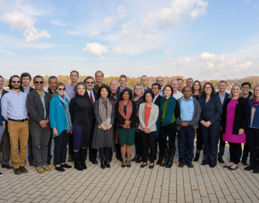 Earth Commission members and the secretariat gather outside the Potomac Science Centre — Nov 19, 2019.