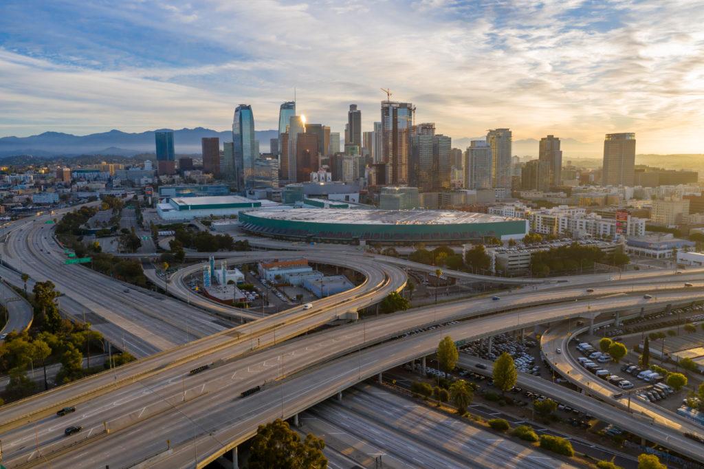 Empty highways in Los Angeles during COVID-19 lockdown