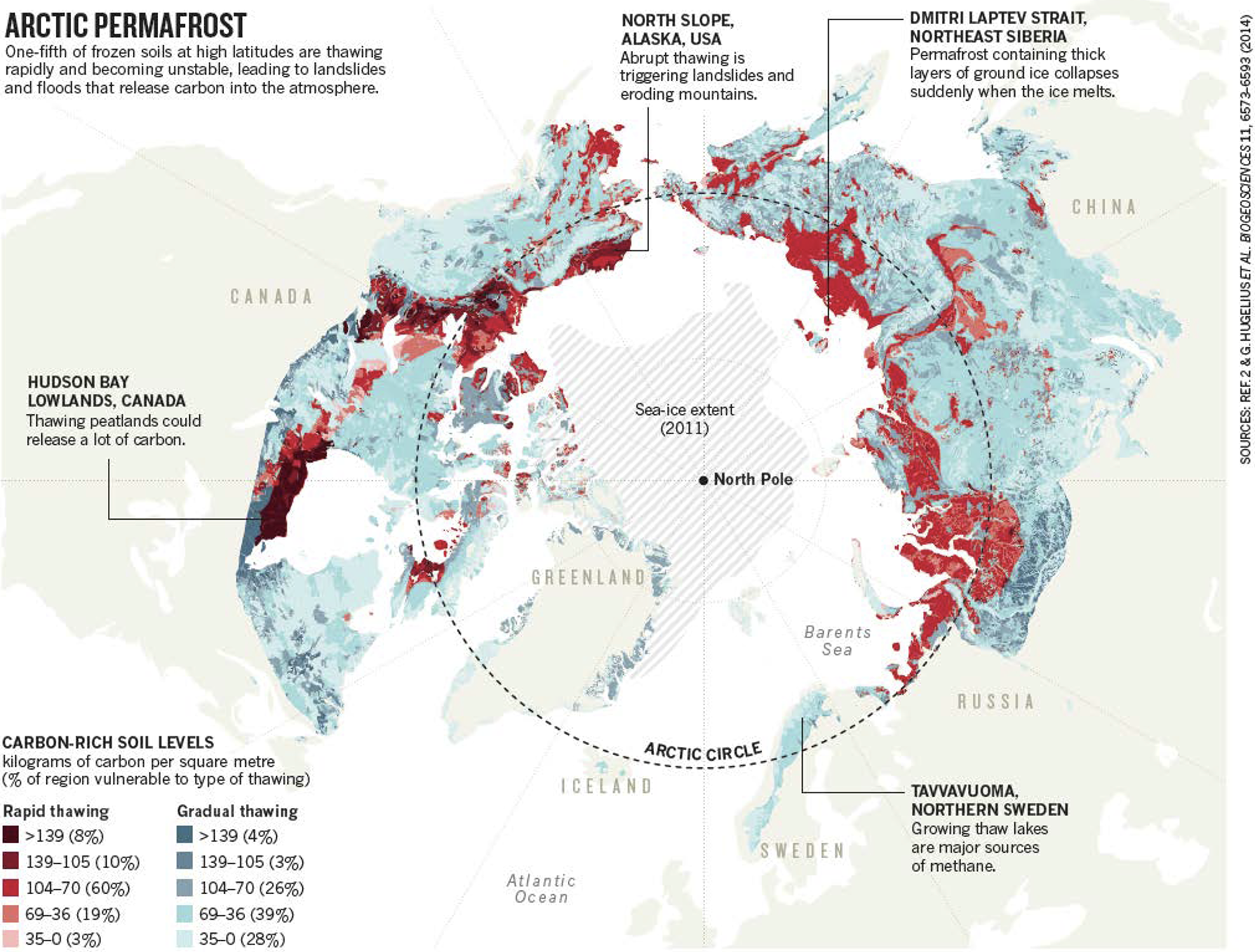 Map of thawing Arctic permafrost